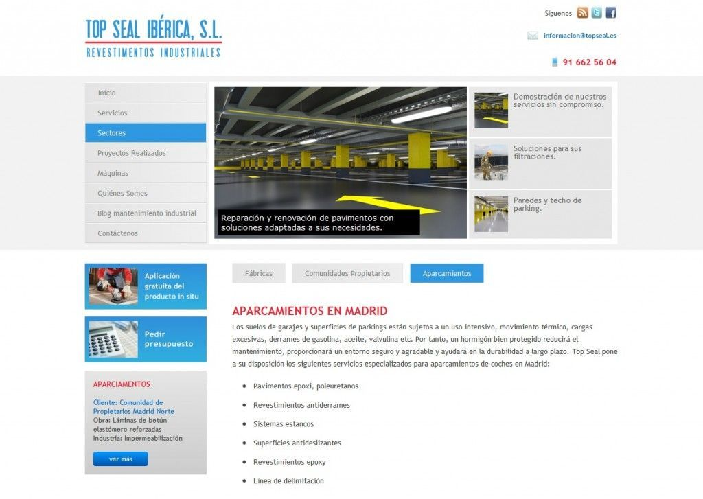 Interior de la web de Top Seal