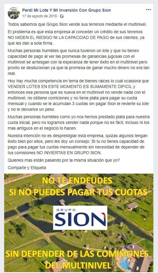 Grupo Sion no es estafa piramidal
